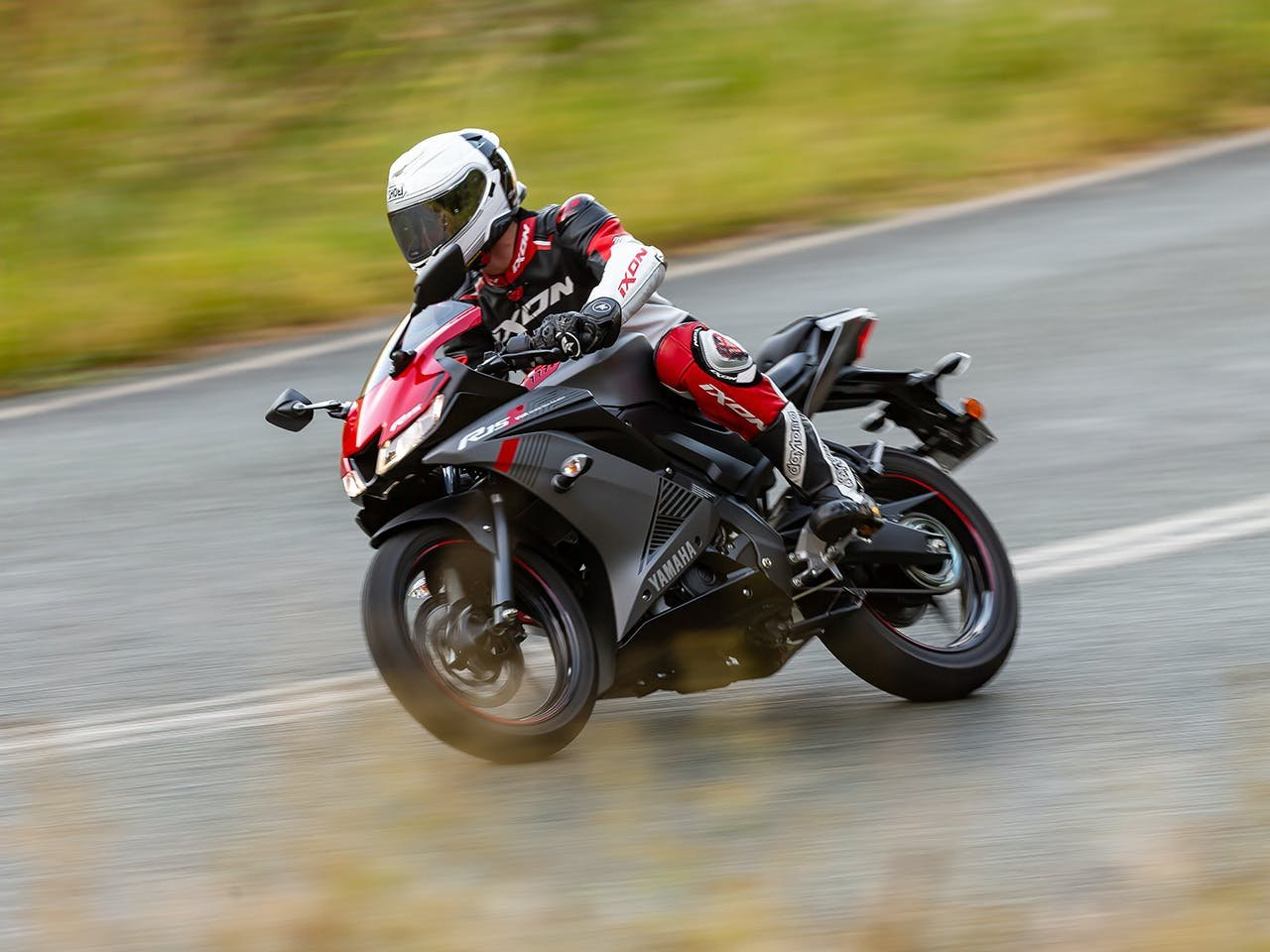 Yamaha YZF-R15 in Thunder Grey colour, on the road