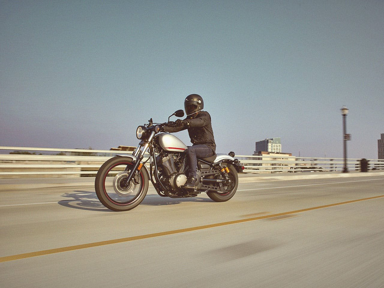 Yamaha Bolt R-Spec motorcycle riding on the road